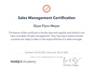 Hubspot Sales Management Certification