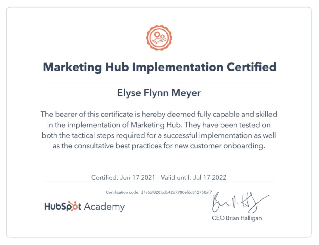 Marketing Hub Implementation Certification
