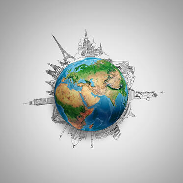 Earth planet on grey background with pencil sketches. Elements of this image are furnished by NASA